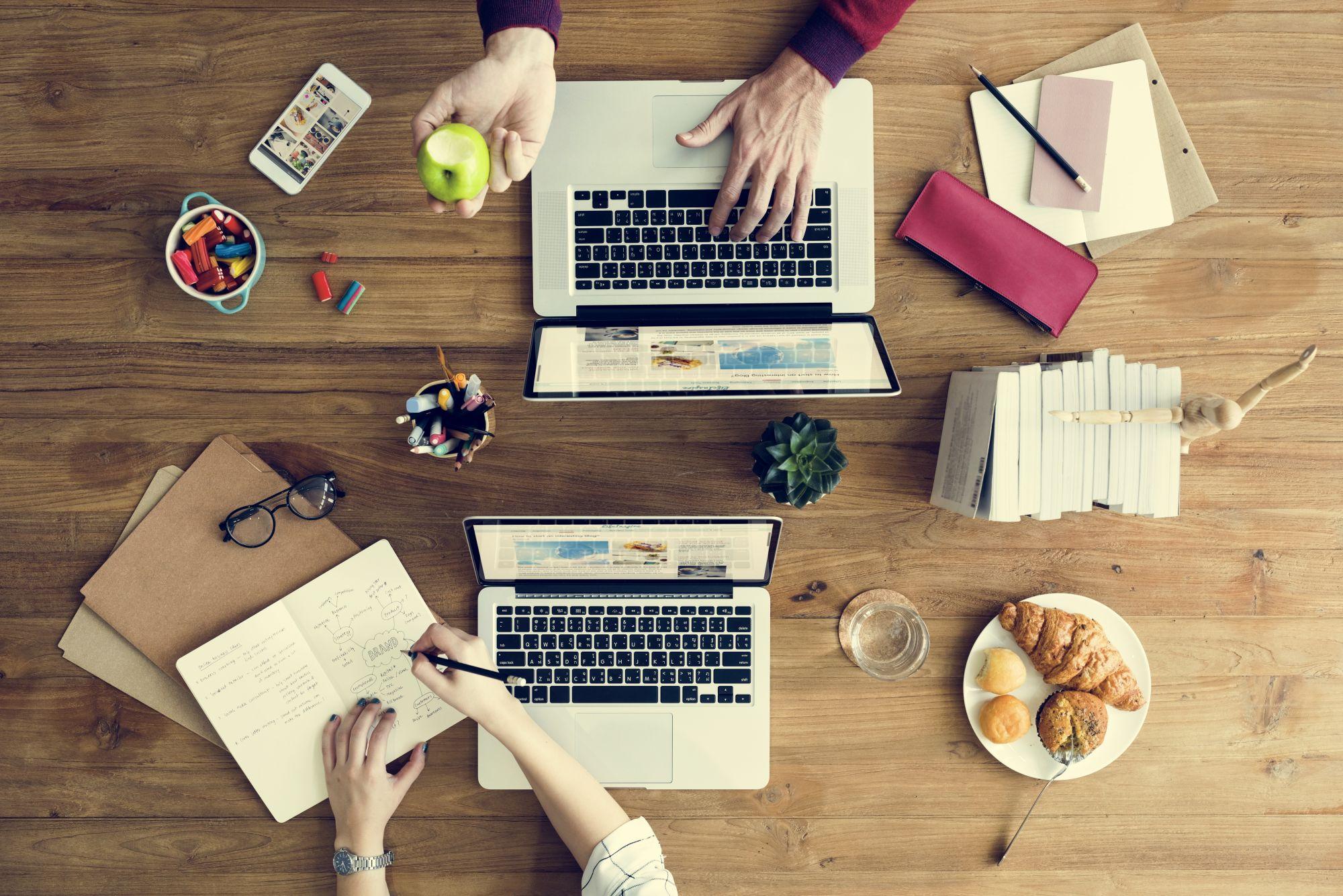 Laptop Technology Corporate Business Teamwork Branding Concept